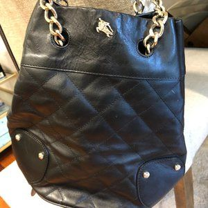 Burberry Black Leather Bucket Bag with Gold Chain